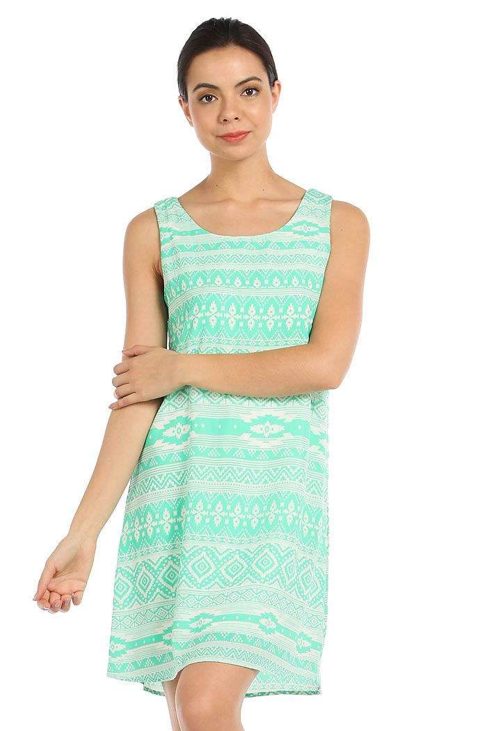 ETHNIC PRINT CUT-OUT BACK SHIFT DRESS-Mint