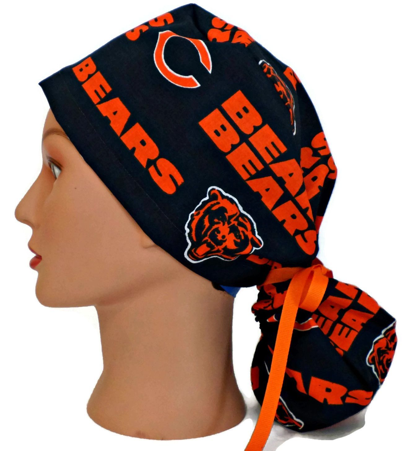 Women's Ponytail or Pixie Scrub Cap Hat in Chicago Bears