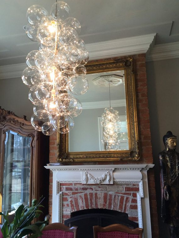 1 175 00 The X Tall Waterfall Glass Bubble Chandelier In Clear Or Gilded 36