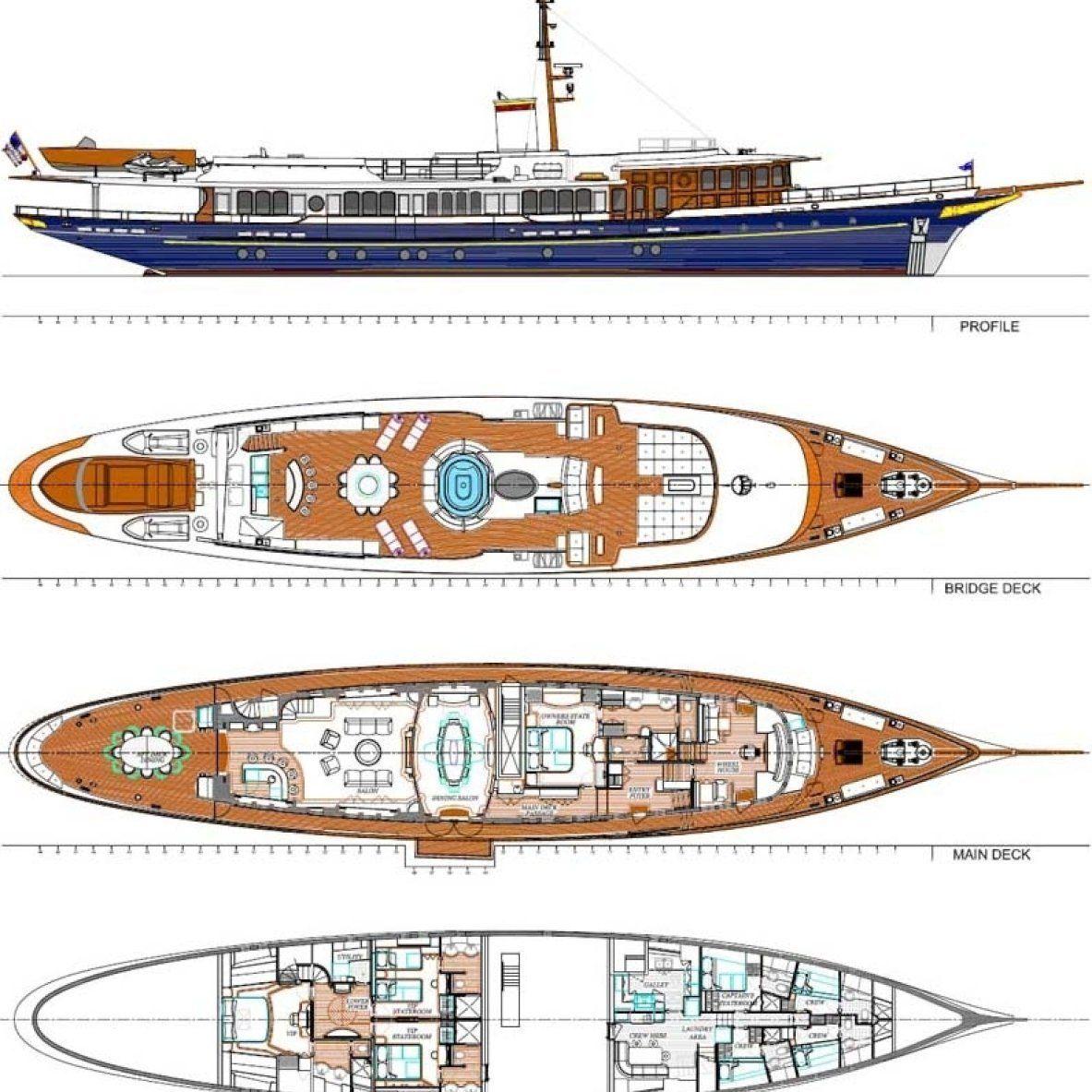 Deck Plans Yacht Boat Yacht Yacht Design