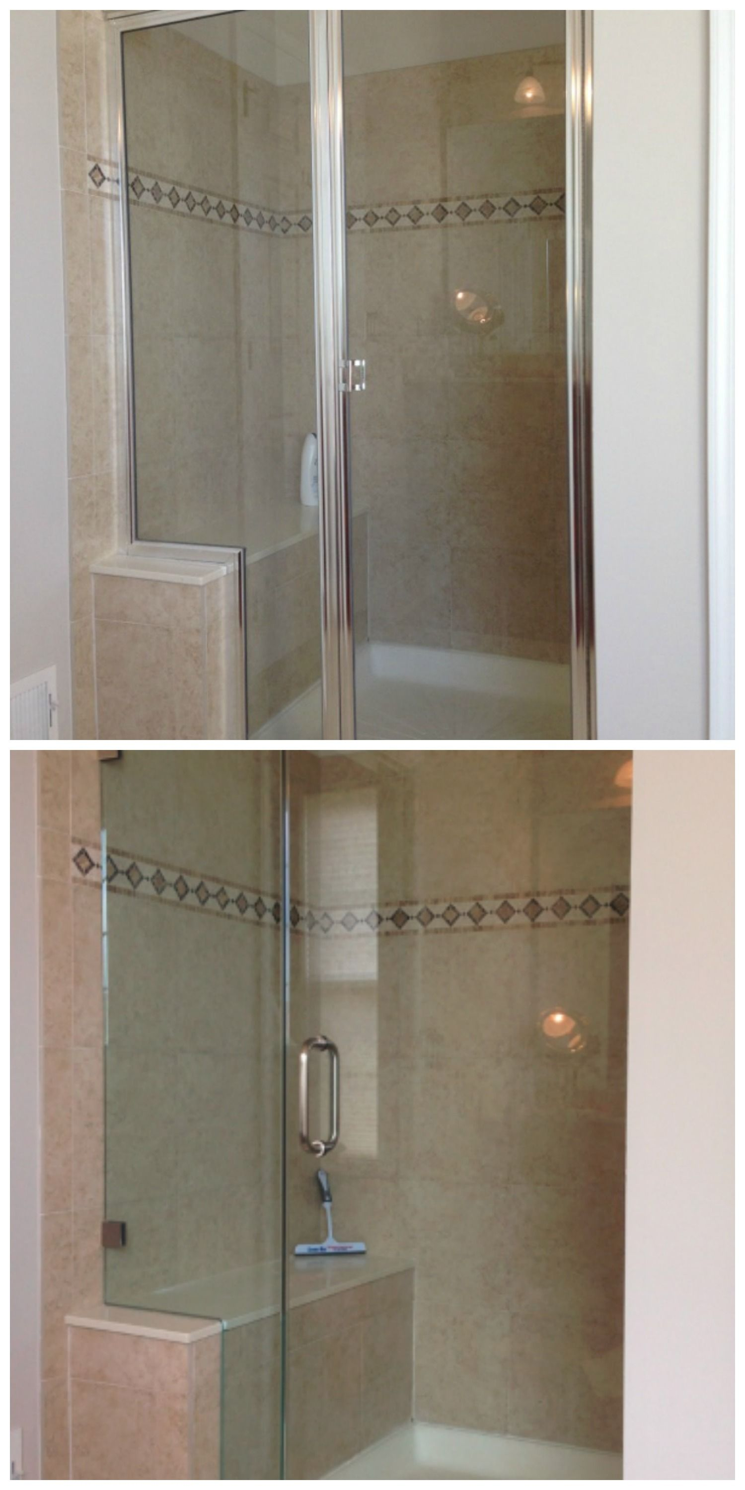 Before After An Uninspired Framed Shower Door Gets A Sleek Modern Makeover With Trul With Images Shower Doors Frameless Shower Doors Frameless Glass Shower Enclosure