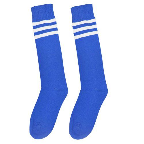 Unisex Athletic Knee High Socks Bright Color with Triple Stripes Blue White * Continue to the product at the image link.Note:It is affiliate link to Amazon.