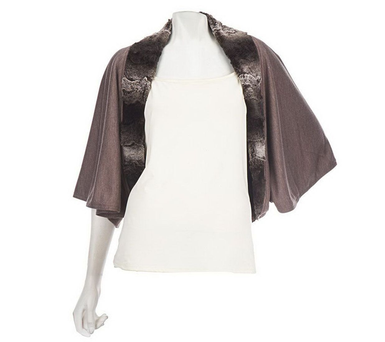 Mark Zunino Style Charming Knit Shrug Faux Fur Trim Heather Taupe M NEW A228022