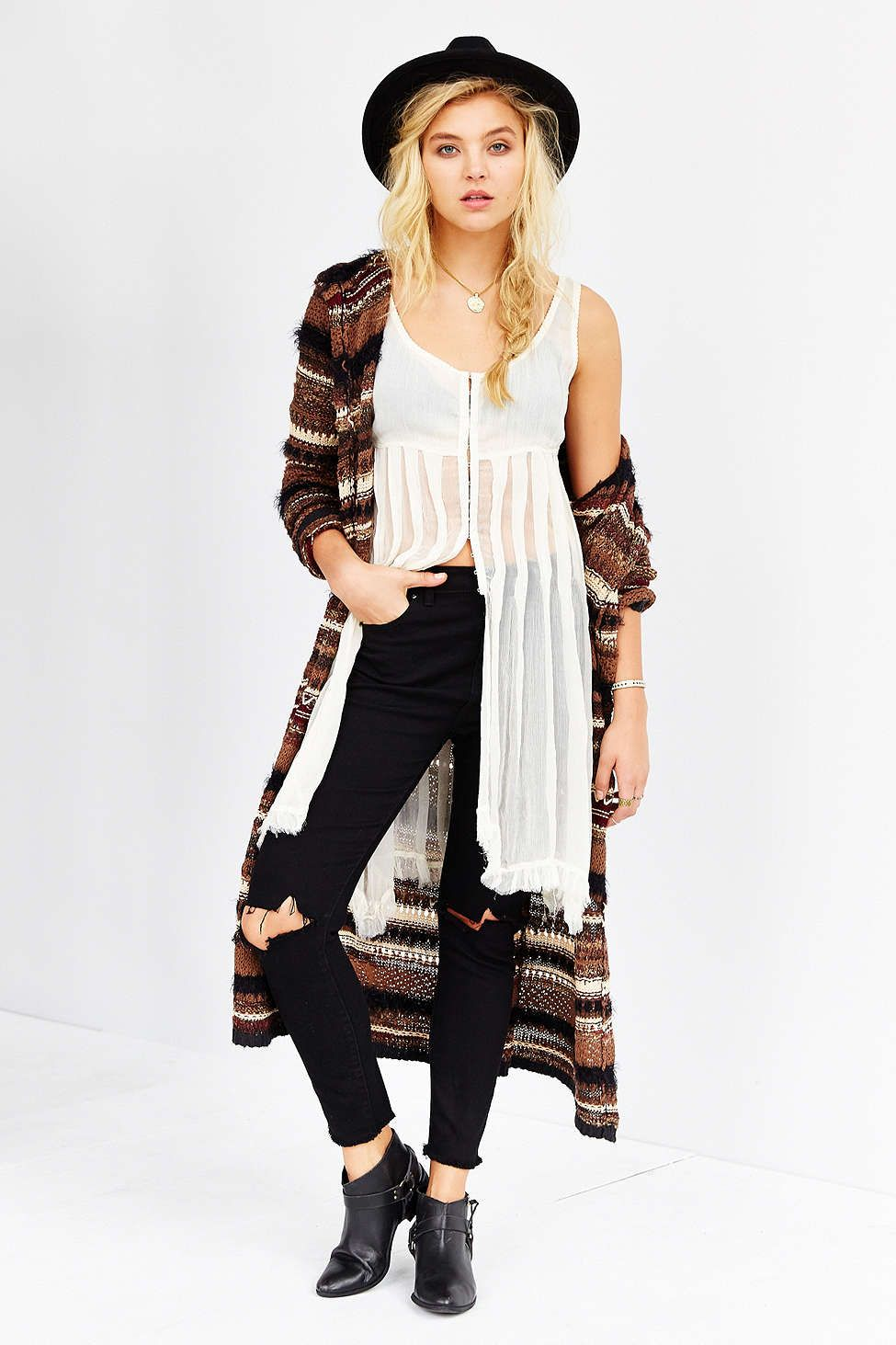 Ecote Mixed Textured Striped Maxi Cardigan - Urban Outfitters ...