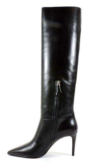 Amazon.com | Prada Women's Vitello Leather Pointed Toe Knee Boot, 38.5 EU.8.5 M US | Knee-High