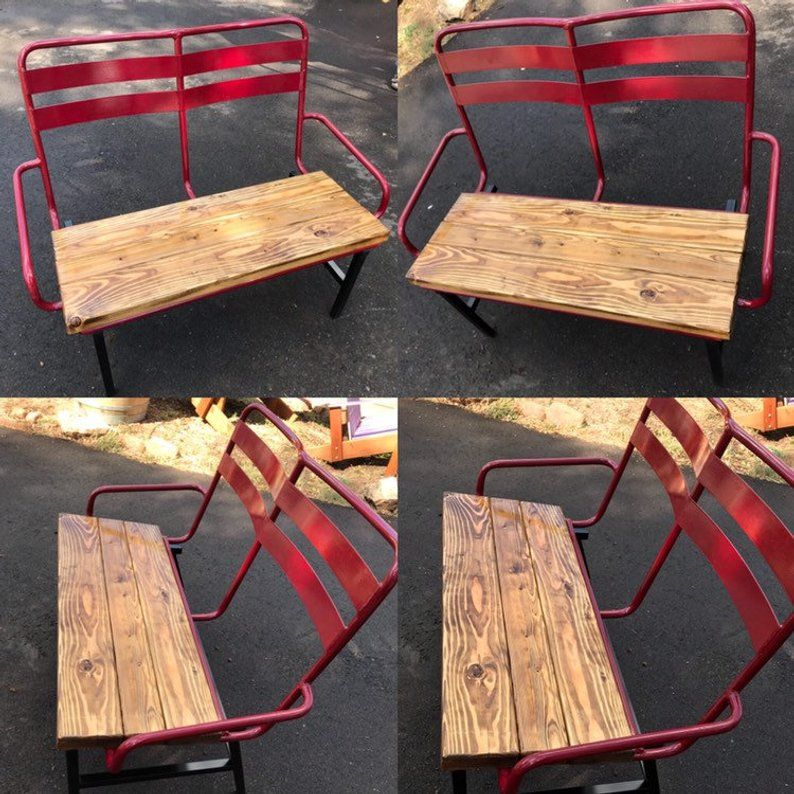 Marvelous Repurposed Ski Chairlift Bench Powder Coated Red Original Ocoug Best Dining Table And Chair Ideas Images Ocougorg