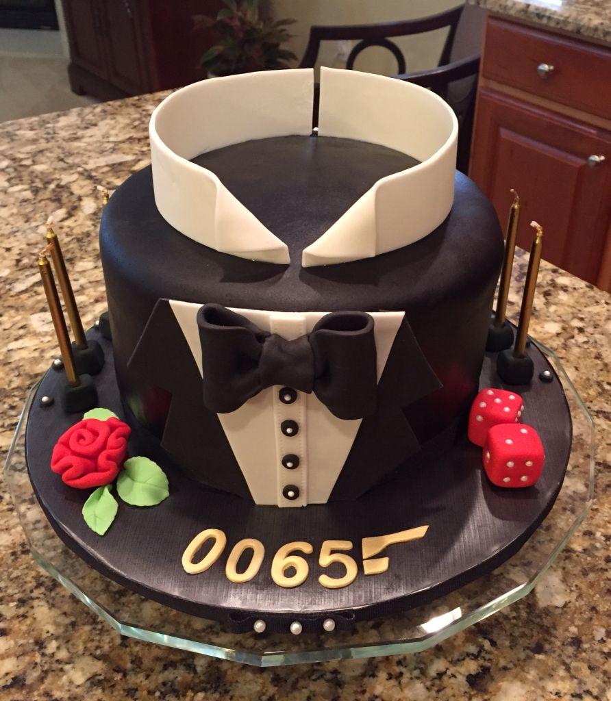 007 James Bond Birthday Cake Almond Vanilla Cake Frosted With