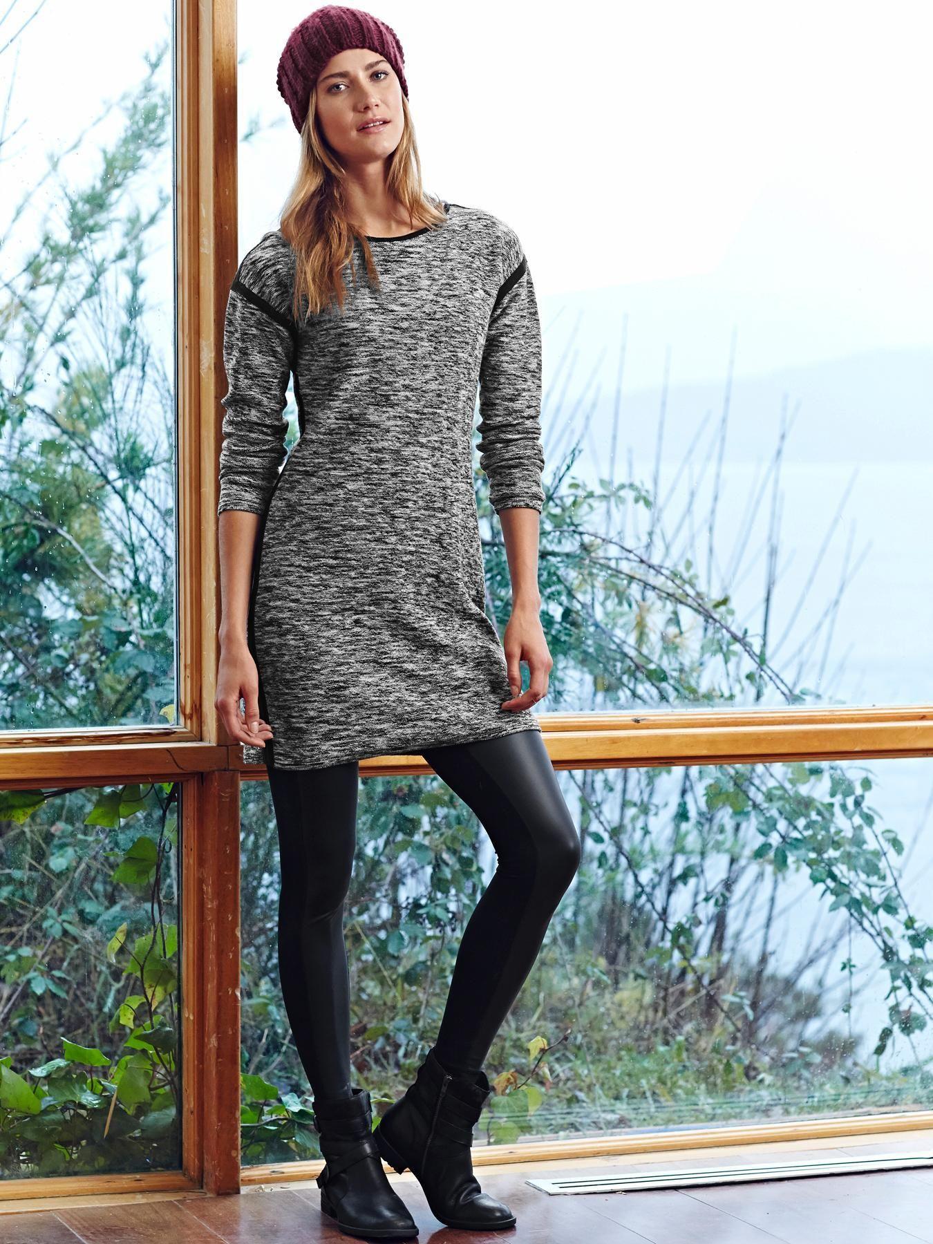 Women S Grey Sweater Dress Black Leather Leggings Black Leather Ankle Boots Burgundy Beanie Black Leather Leggings Sweater Dress Womens Yoga Clothes [ 1800 x 1350 Pixel ]