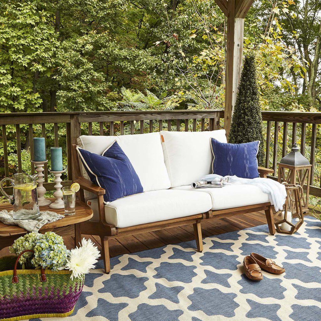 Modway Saratoga Outdoor Patio Teak Loveseat Natural White Outdoor Patio Teak Wood Modern Outdoor Furniture