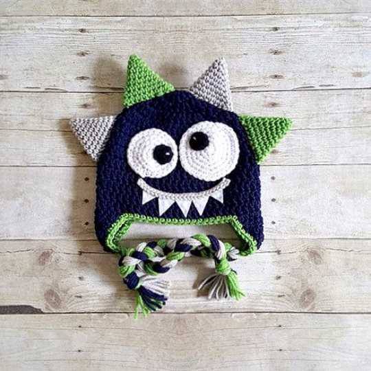 Crochet Monster Hat Beanie Newborn Baby Infant Toddler Child Adult Photography Photo Prop Handmade Baby Shower Gift Present Available from Newborn to Adult. Available in any color combos! Please inclu