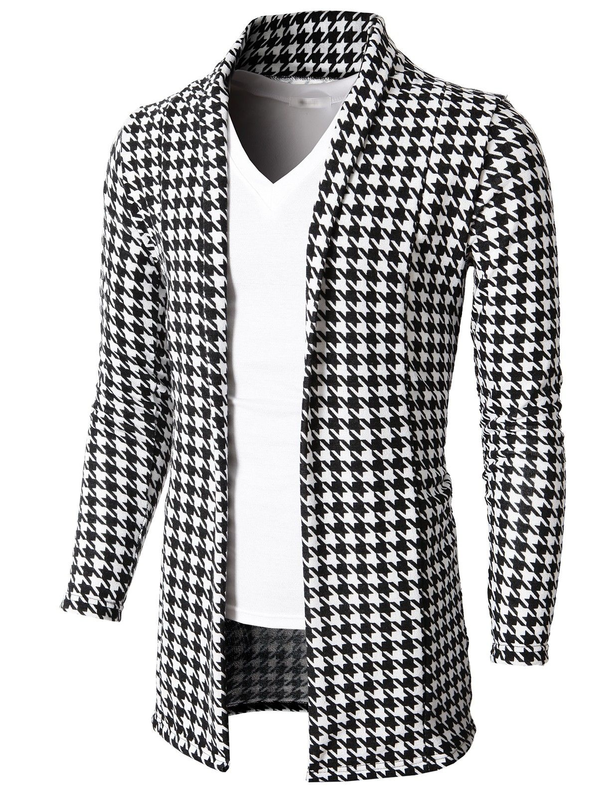 Doublju Men's Shawl Collar Cardigan Sweater With Simple No Button ...