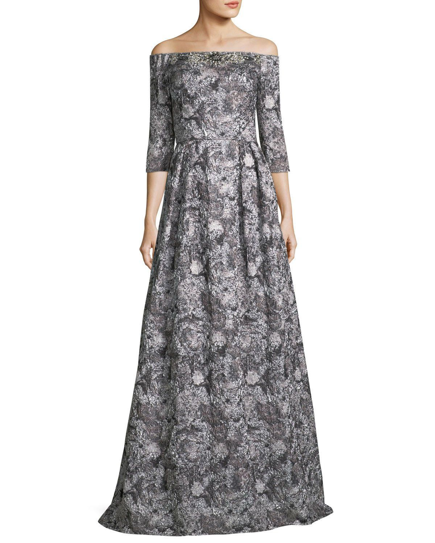 Offtheshoulder metallic brocade sleeve evening gown products
