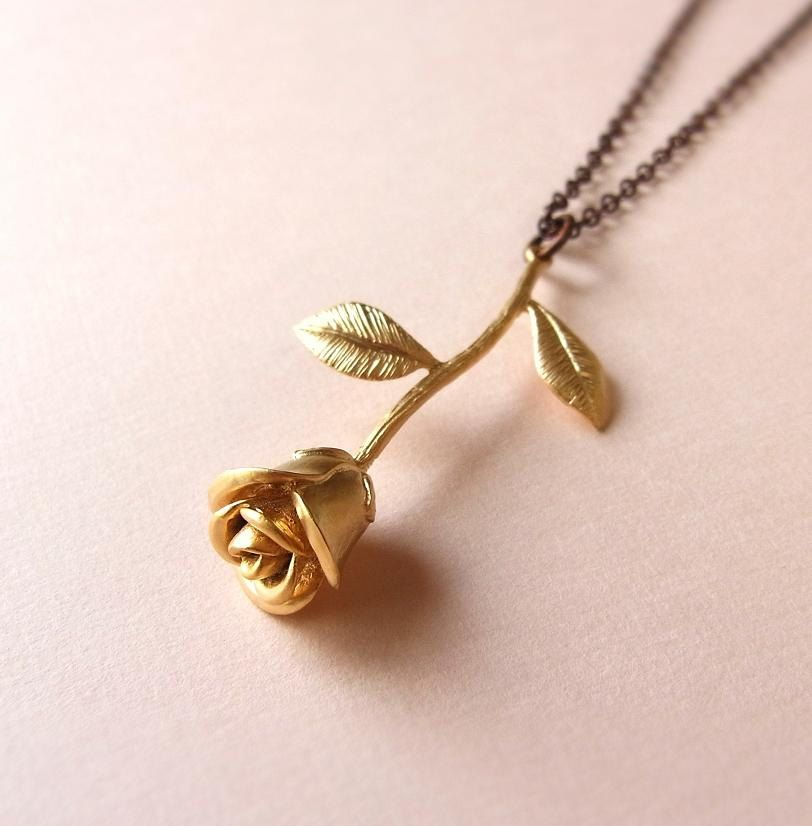 Single Rose Necklace Gold Rose Pendant Antiqued Bronze