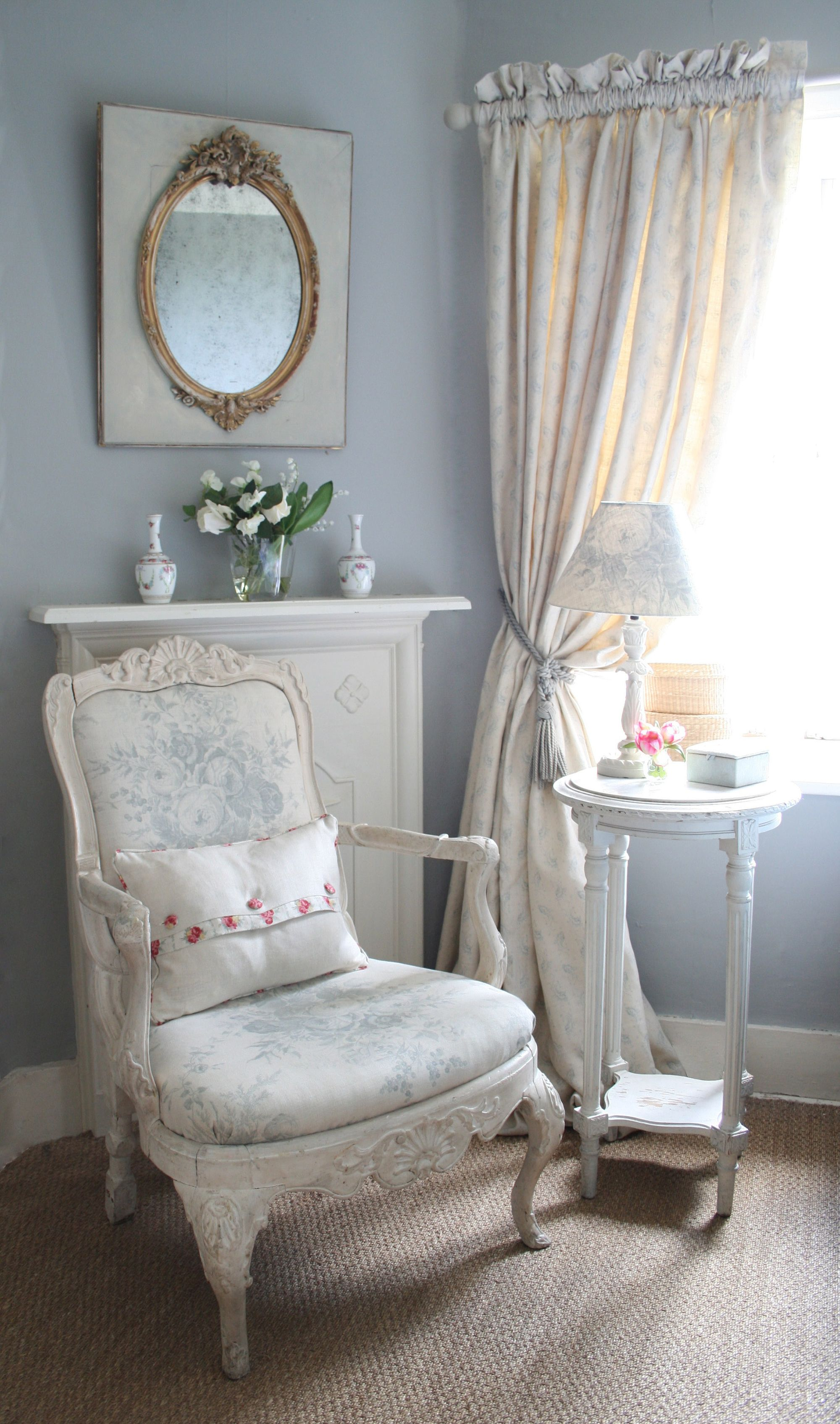 smokey blue grey with creamy chair in pretty floral for my Master