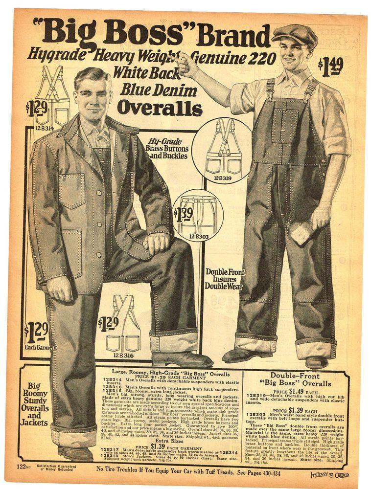 1927 Ad Big Boss Brand Blue Denim Overalls Jackets Brass Buttons Heavy Weight Boss Brand Overalls Denim Overalls