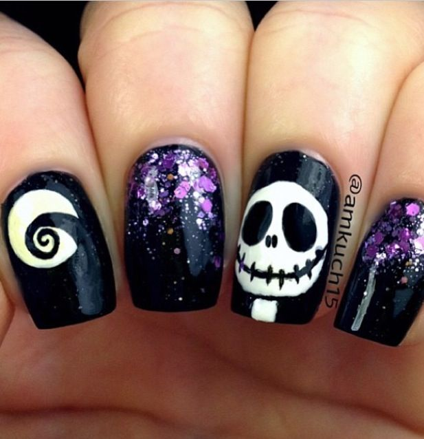 Halloween jack nails | Holiday Nails | Pinterest | Halloween jack ...