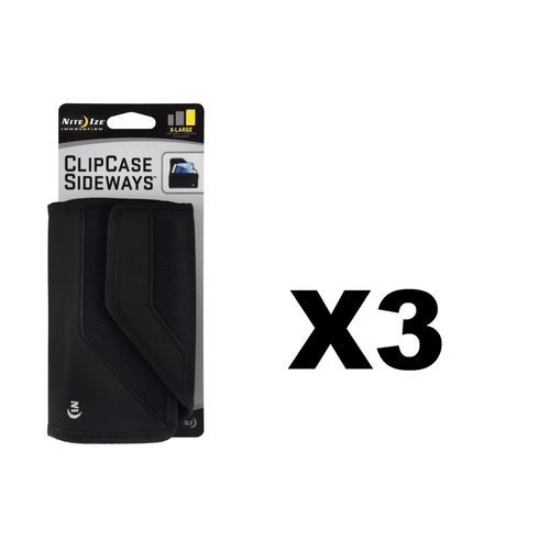 Nite Ize Clip Case Sideways Black X-Large Nylon Phone Holster+Belt Clip (3-Pack)