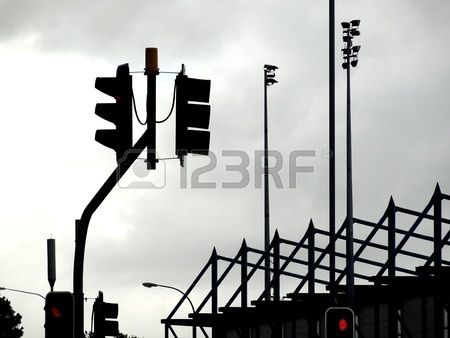 Traffic Light Silhouette In City With Lamp Posts In Background Traffic Light Lamp Post Silhouette Photos