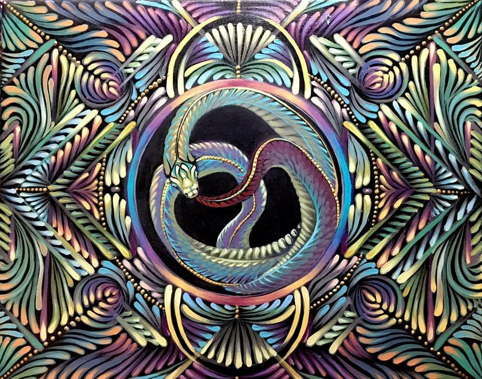"""Original painting. Ouroboros Mandala. 16x20"""" acrylic on canvas. Sold. More on my site."""