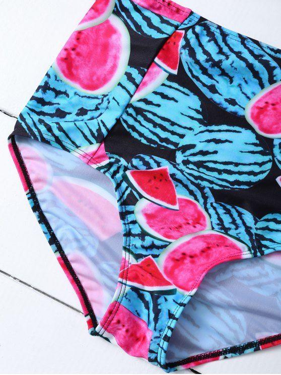 Watermelon Print High Rise Bikini - RED AND GREEN M