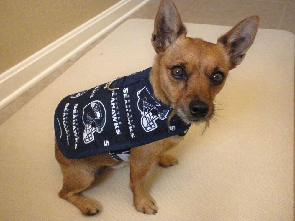 889427e5a68e60cc6ae014ba08b187e2 dog pet harness coat made from seattle seahawks fabric blue sizes xs