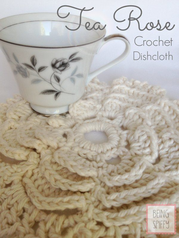 The Tea Rose crochet dishcloth pattern is free from Being Spiffy ...