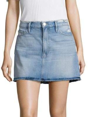 Le Frayed Denim Mini Skirt