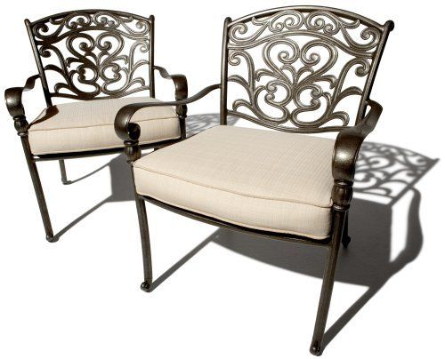 Strathwood St Thomas Cast Aluminum Deep Seating Arm Chair Set Of 2