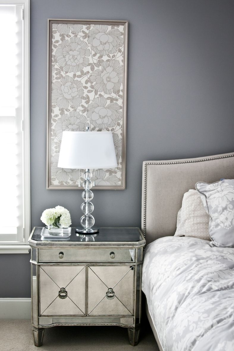 Easy idea framed fabric panels for bedside walls for Mirror bedside cabinets