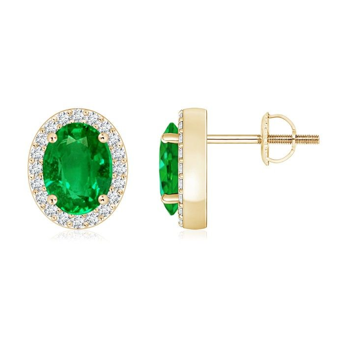 Angara Oval Emerald Stud Earrings in Yellow Gold D7gEIh9Vaw