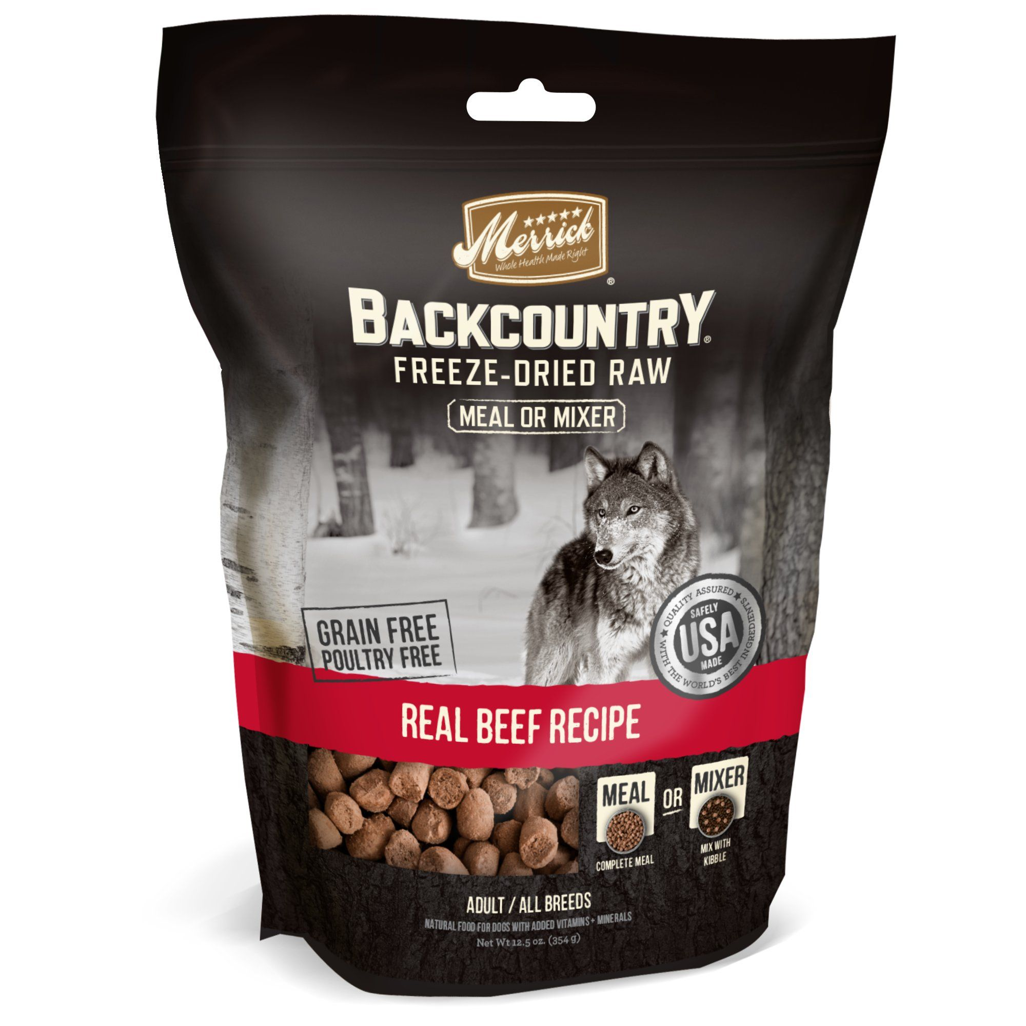 Merrick Backcountry Freeze Dried Raw Real Beef Recipe Meal Or