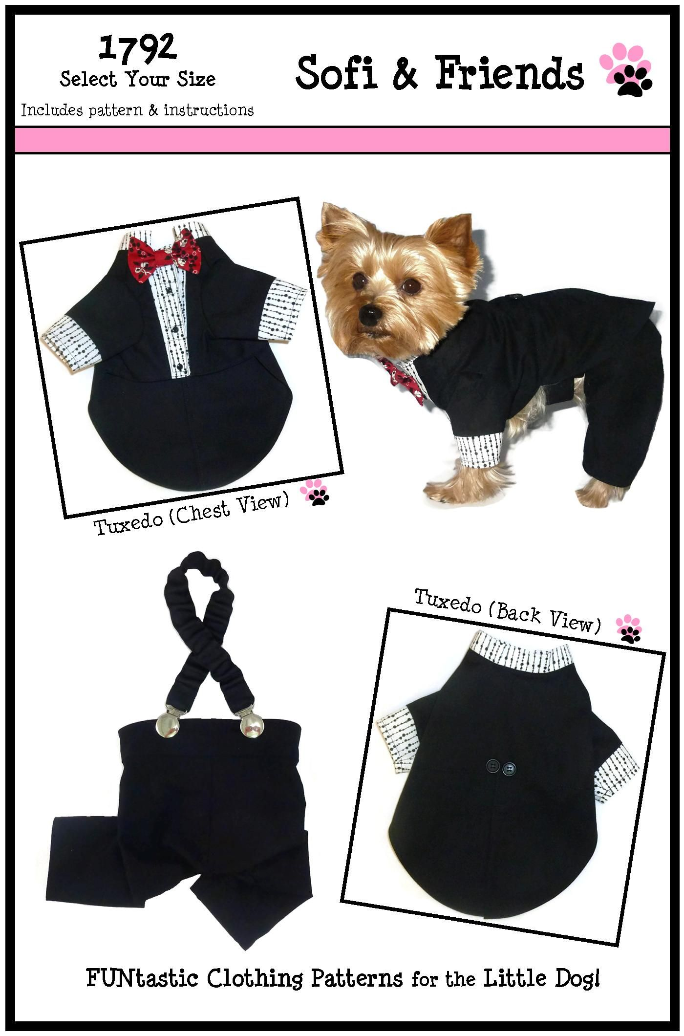 Dog tuxedo pattern 1792 small medium dog clothes sewing dog dog clothes sewing pattern jeuxipadfo Image collections