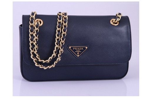2013 Prada Saffiano Evening Bag with Braided Leather Chain Strap Navy