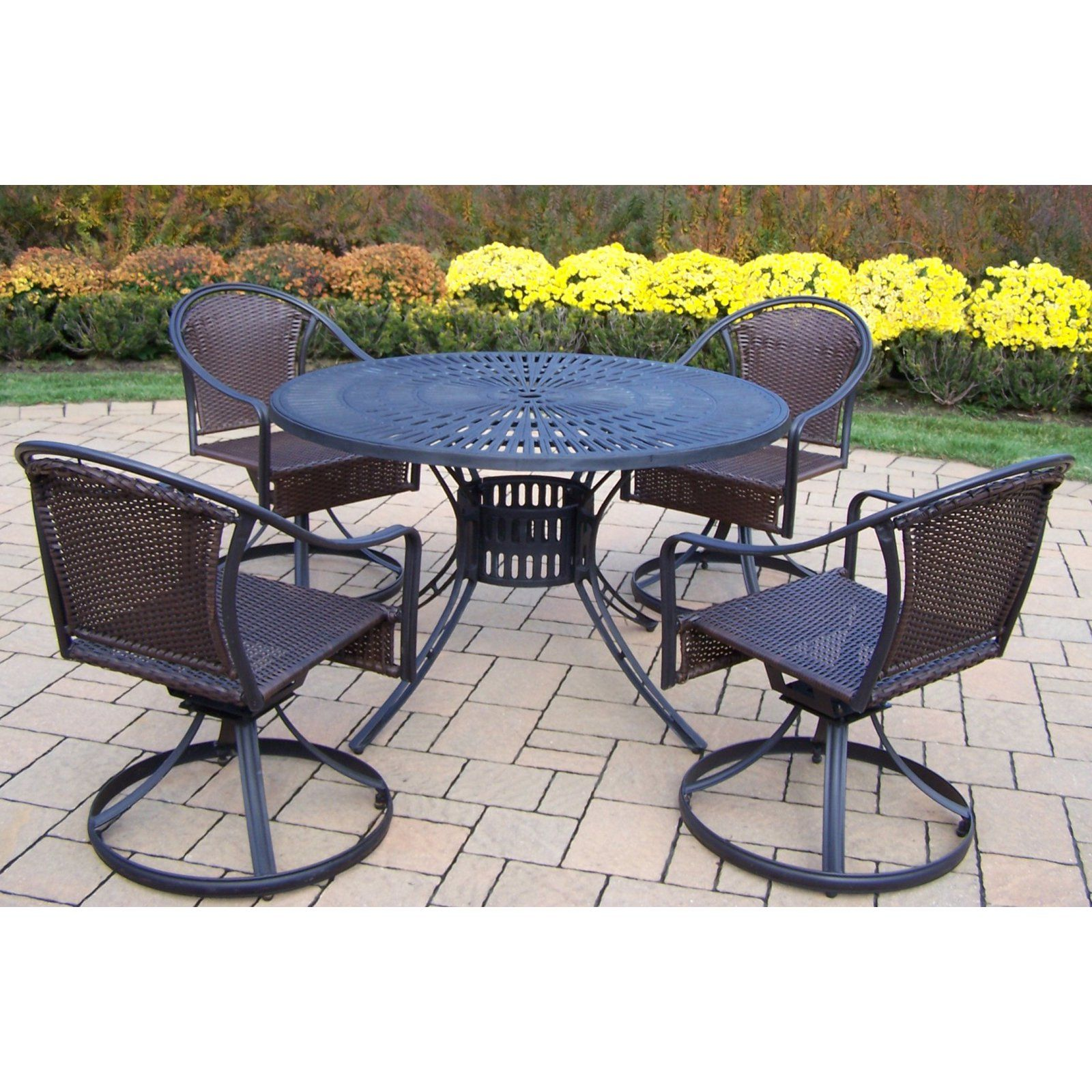 Outdoor Oakland Living Sunray Tuscany 48 in. Patio Dining Set with Swivel Chairs - 2137-90079-S-5-BK
