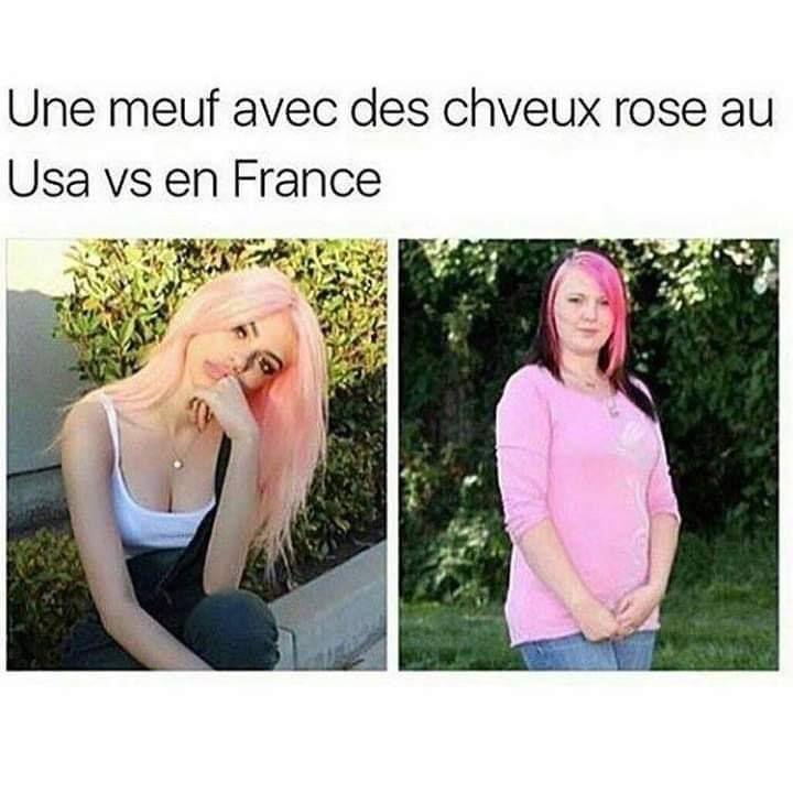 Une meuf avec des cheveux rose au Usa VS en France !!! blague #drôle #drole #humour #mdr #lol #vdm #rire #rigolo #rigolade #rigole #rigoler #blagues #humours