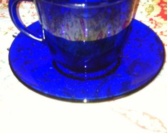 Vintage Cobalt Blue Glass Tea Cup Set 2 Pieces $5 each @ redtabbyboutique on ETSY