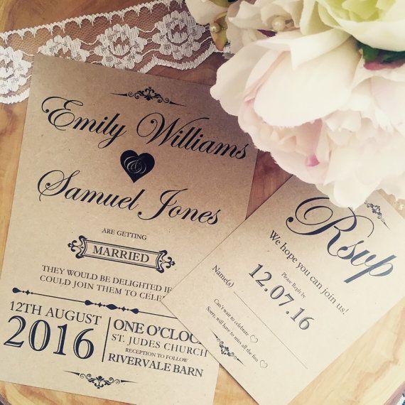 Handmade Wedding Invitations Rustic Vintage Shabby Chic Rsvp