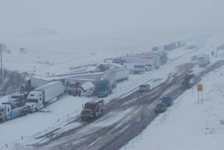 Video shows devastation from massive pileup on I-80 in Wyoming that injured 27 people | fox13now.com