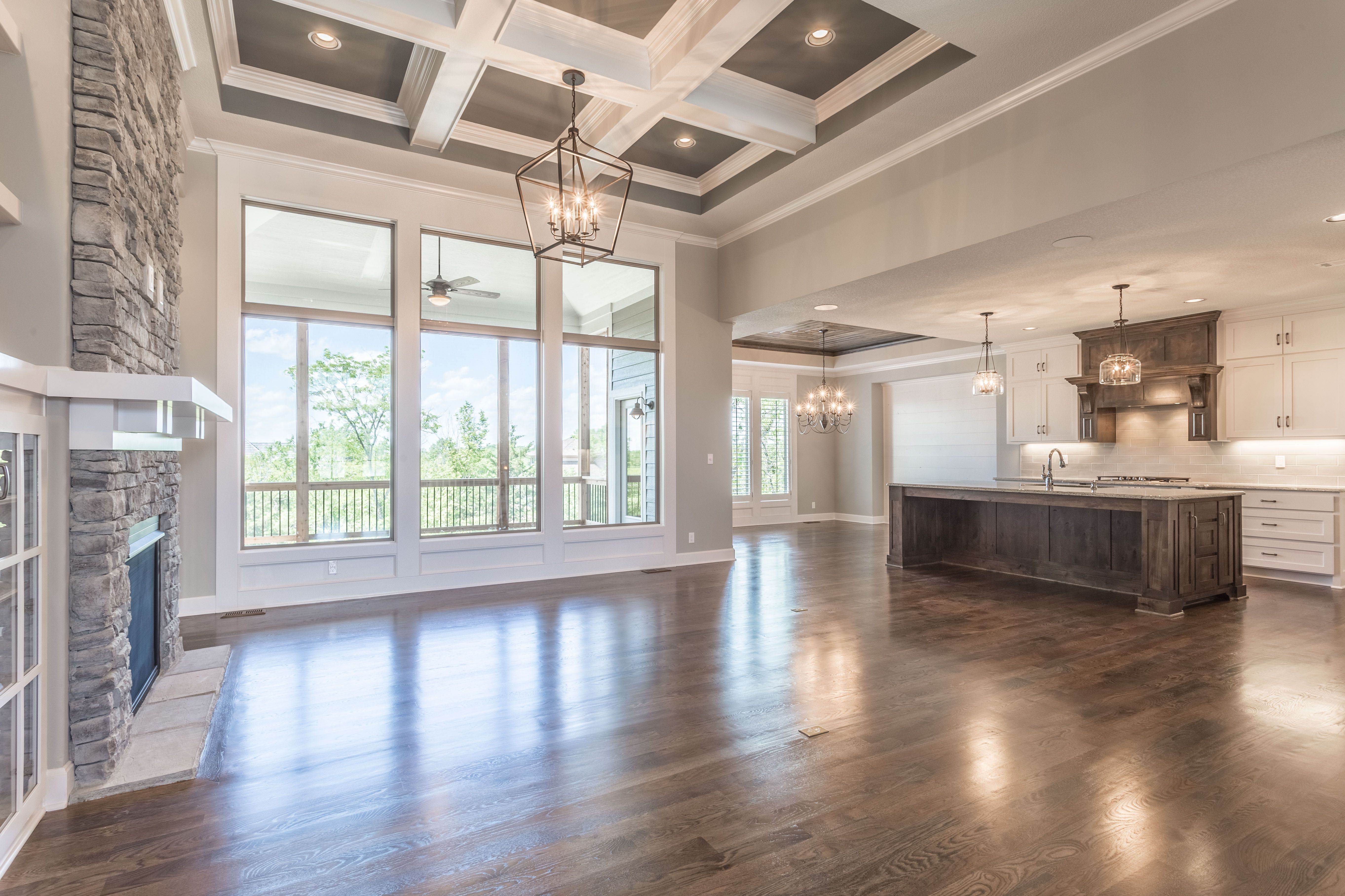 Interior Design Coffered Ceiling Lighting New Home Ideas Hardwood Floors Painted Cabinets Reverse 1 5 Floo Dream House Ideas Kitchens House House Design