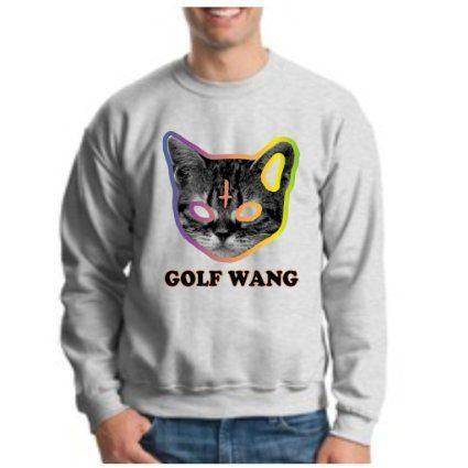 2337b4fdfdfc8f Amazon.com  Golf Wang Cat CREWNECK OFWGKTA GolfWang TYLER the Creator ODD  Future WolfGang CREWNECK Sweatshirt  Clothing