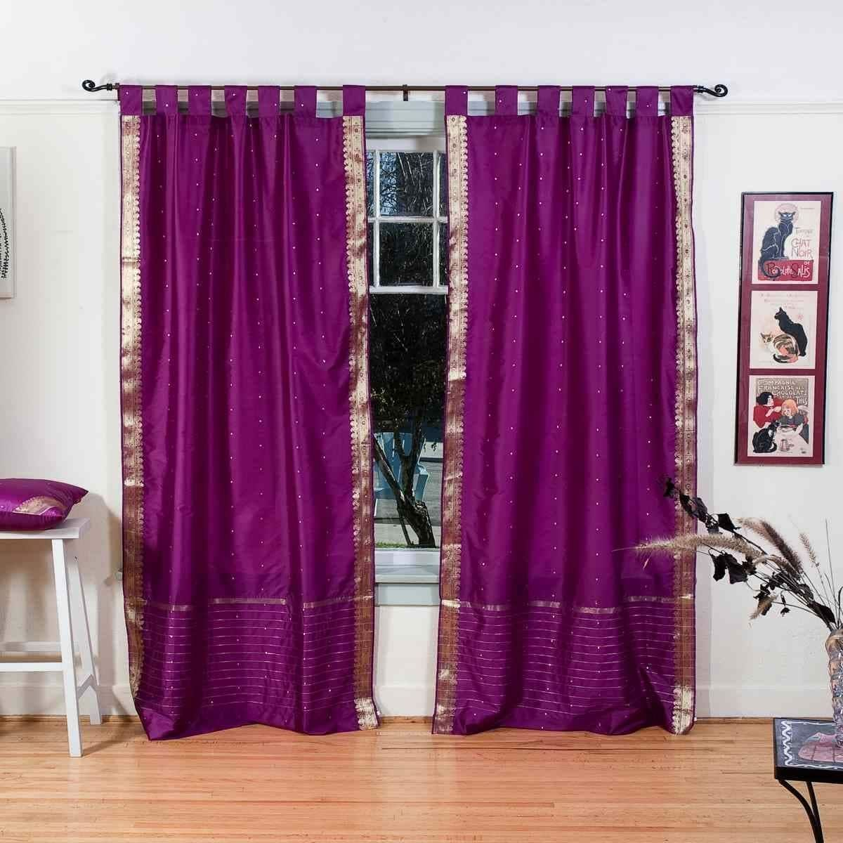 Indian Selections Violet Red Tab Top Sheer Sari Curtain Drape