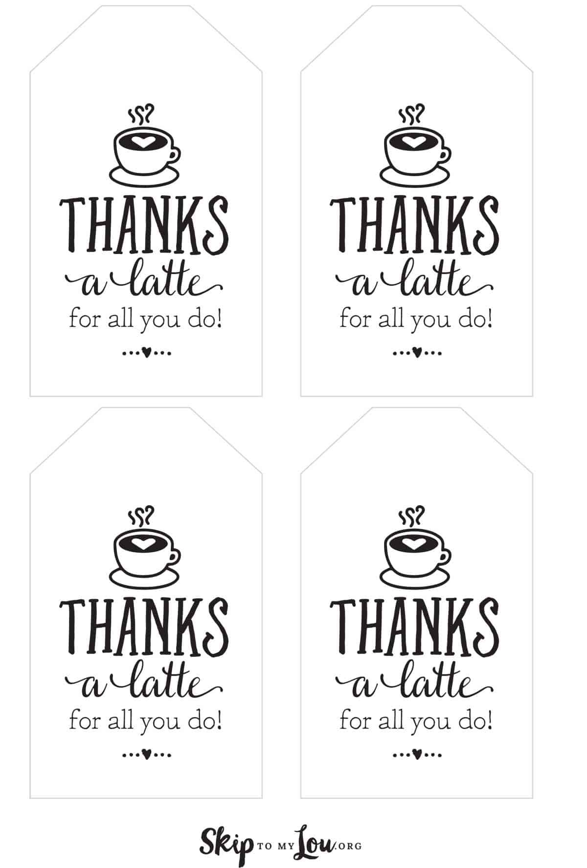It's just a photo of Thanks a Latte Free Printable regarding easy diy