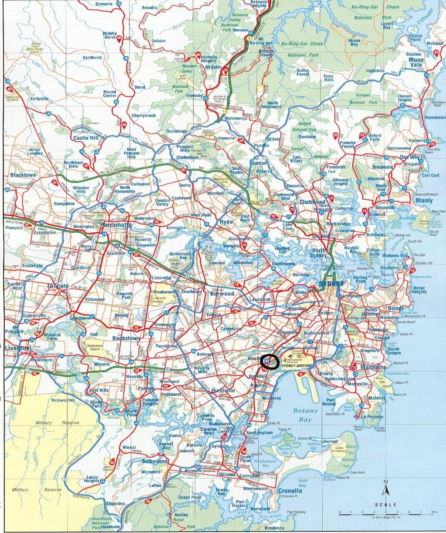 Sydney Road Map Sydney map, Map, Travel maps