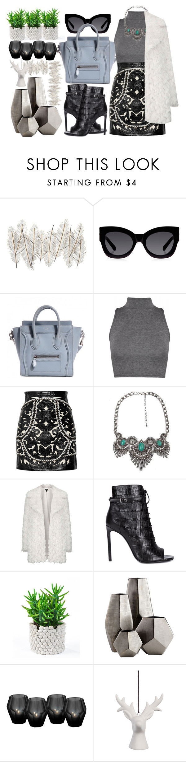 """#242"" by vilte-m ❤ liked on Polyvore featuring Universal Lighting and Decor, Karen Walker, Balmain, BKE, Topshop, Yves Saint Laurent, Cyan Design and Eichholtz"