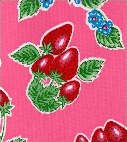 47 Round Strawberry Pink Oilcloth Tablecloth Oil Cloth Strawberry Strawberry Background