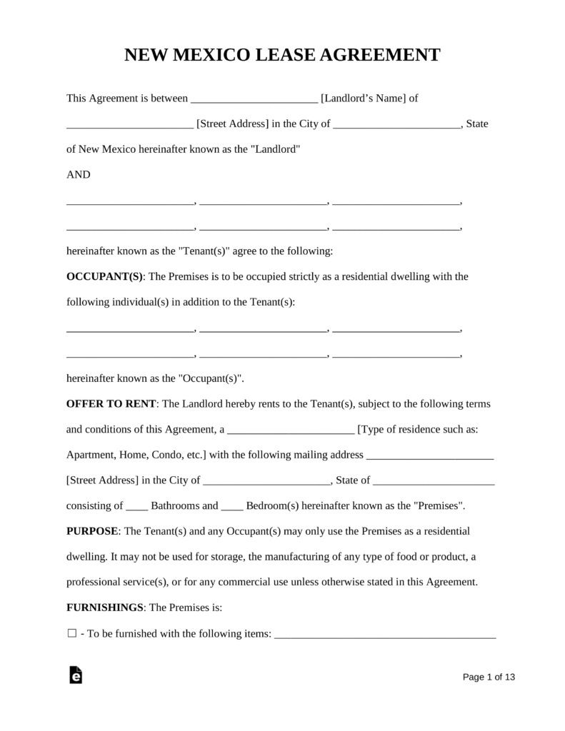 Free New Mexico Standard Residential Lease Agreement Form Pdf For Bounce House Rental Lease Agreement Rental Agreement Templates Lease Agreement Free Printable
