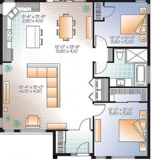 Plano de casa de 80 metros cuadrados casas pinterest for Planos de casas 80 mts2