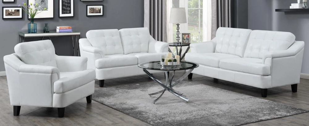 Freeport Collection 3 Piece Living Room Set With Sofa Loveseat And Chair In Snow White Sofa Upholstery Living Room Sets 3 Piece Living Room Set #upholstery #living #room #furniture