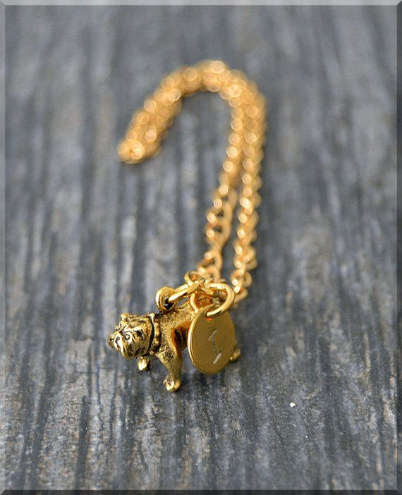 Gold bulldog charm bracelet initial charm bracelet personalized gold bulldog charm bracelet initial charm by charmingpixiejewelry mozeypictures Images