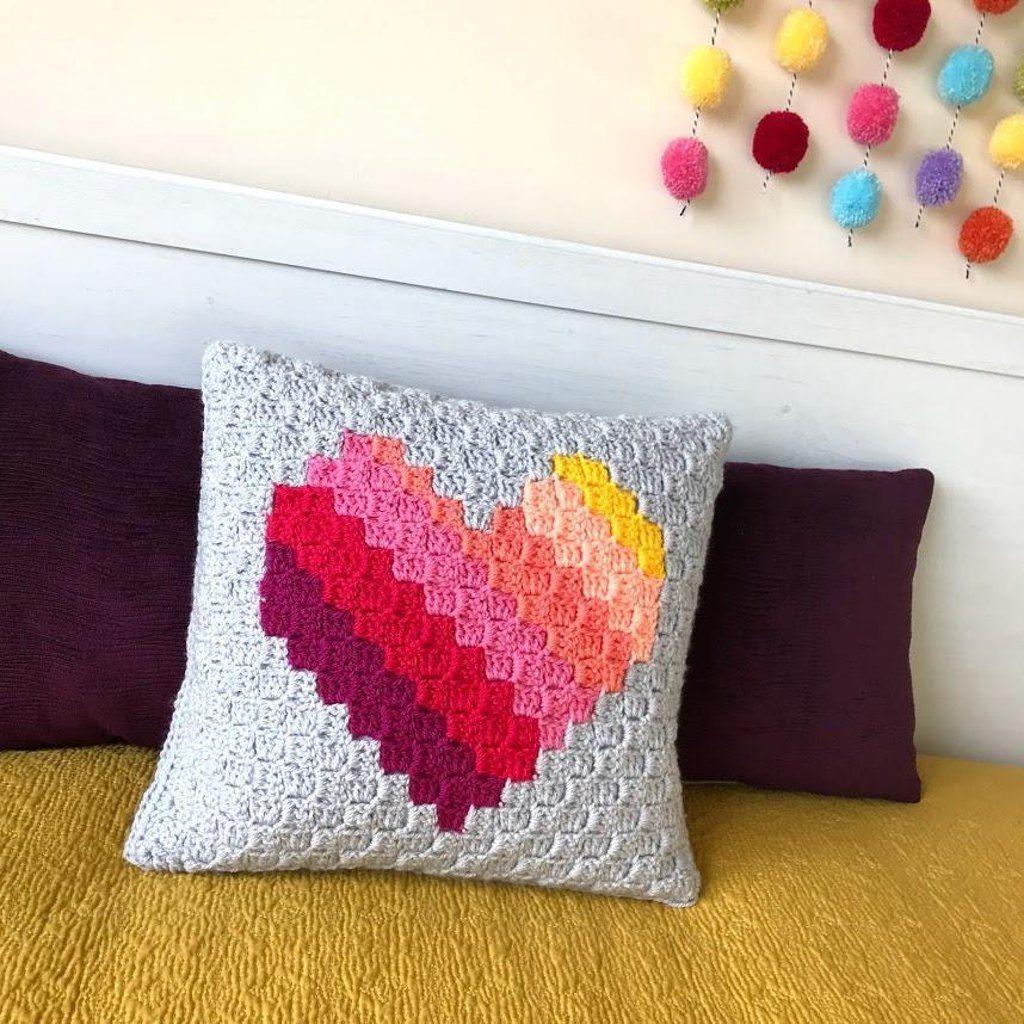 Love heart cc cushion pinterest crochet cushion cover crochet